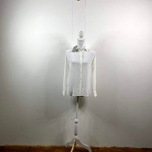 everlane women button silk shirt sz 00 white